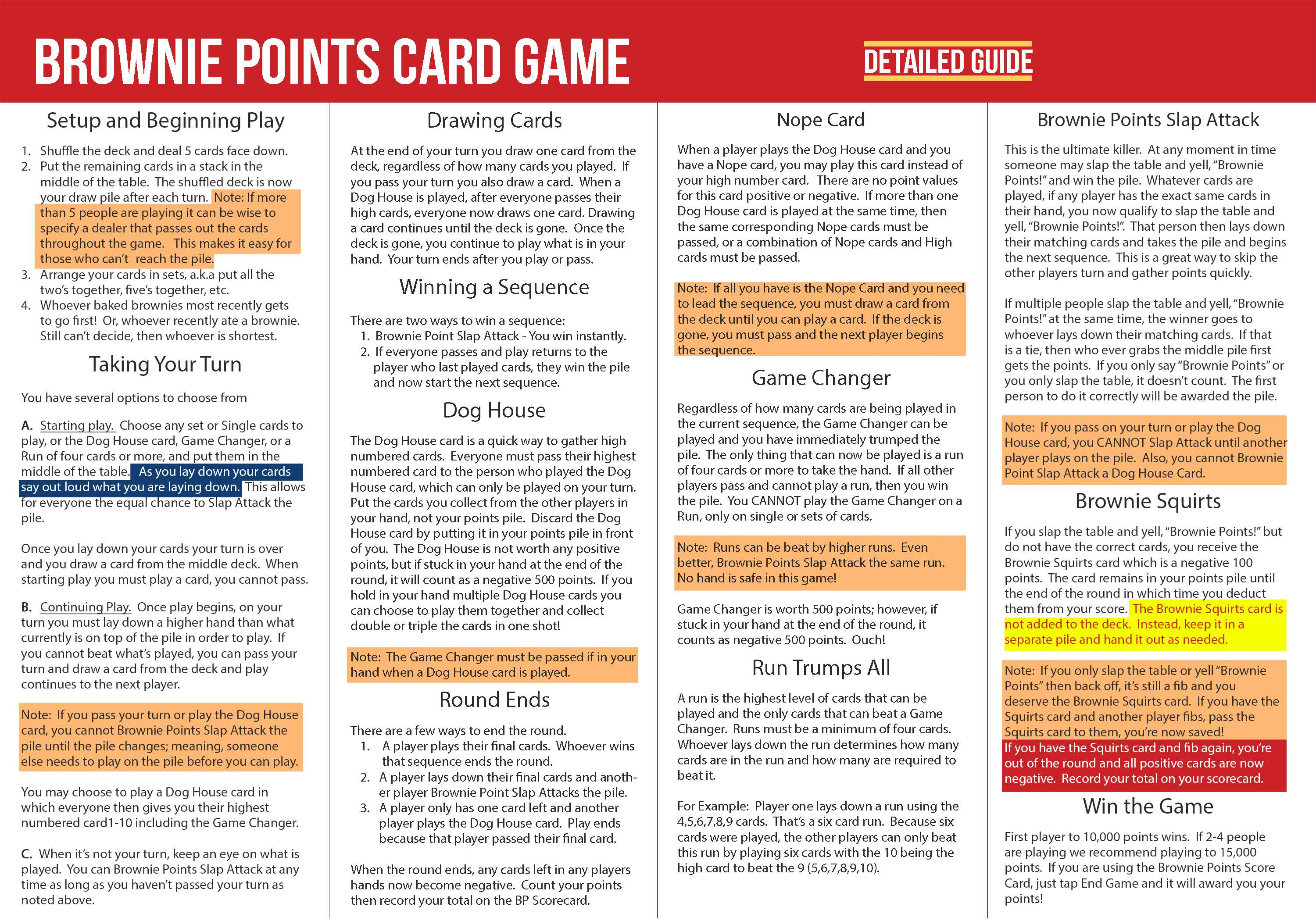 Brownie Points Card Game Official Rules
